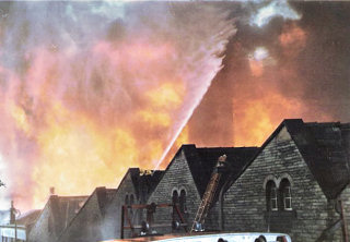Fire at Foldhead Mills 1974